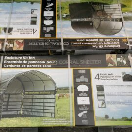 Shelter Logic Corral Shelter 12′ x 12′ and 10′ x 10′ Enclosure Kits (Stocked Products), $115 & $112